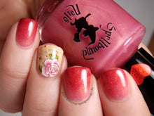 Load image into Gallery viewer, Gradient with My Own Sweet Valentine and Cheeks Tinted Red. Accent nail is Parchment and Lace with flower decal.