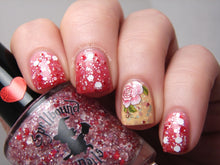 Load image into Gallery viewer, Gradient with My Own Sweet Valentine and Cheeks Tinted Red - topped with Love & Devotion. Accent nail is Parchment and Lace with flower decal.