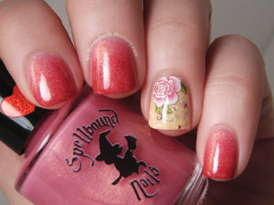 Gradient with My Own Sweet Valentine and Cheeks Tinted Red. Accent nail is Parchment and Lace with flower decal.