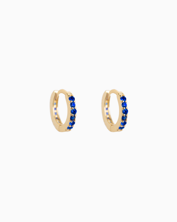 Sel Huggie Hoops Sapphire Blue Gold Plated over Sterling Silver