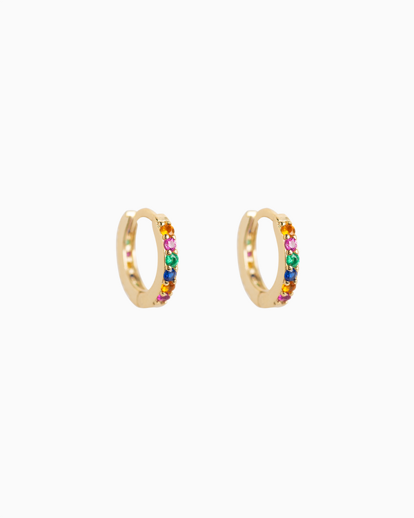 Rainbow Huggie Hoops Gold Plated over Sterling Silver