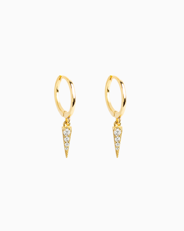 Pavé Triangle Hoops Gold Plated over Sterling Silver