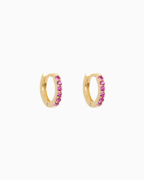 Sel Huggies Ruby Pink Gold Plated over Sterling Silver
