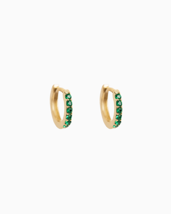 Sel Huggie Hoops Emerald Green Gold Plated over Sterling Silver