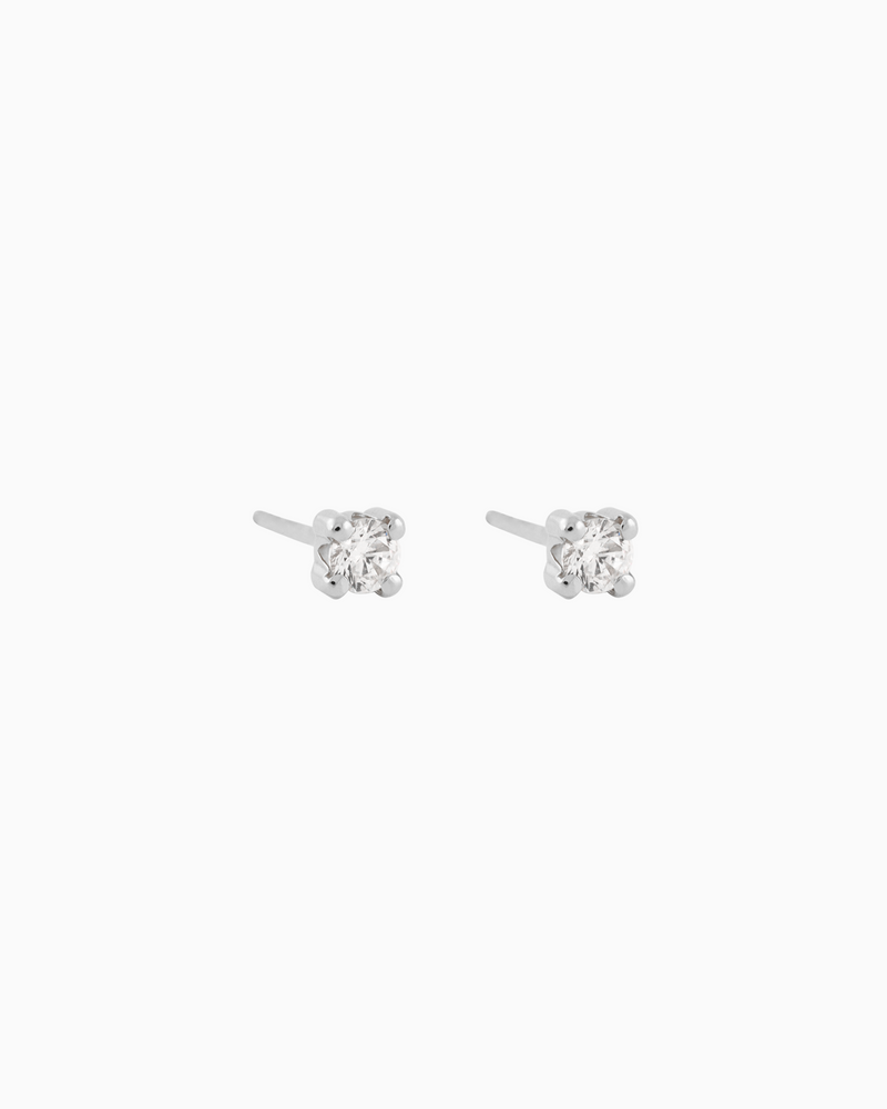 Solitaire Studs Sterling Silver