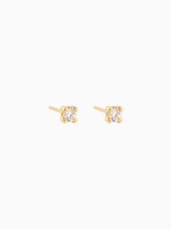 Solitaire Studs Gold Plated over Sterling Silver