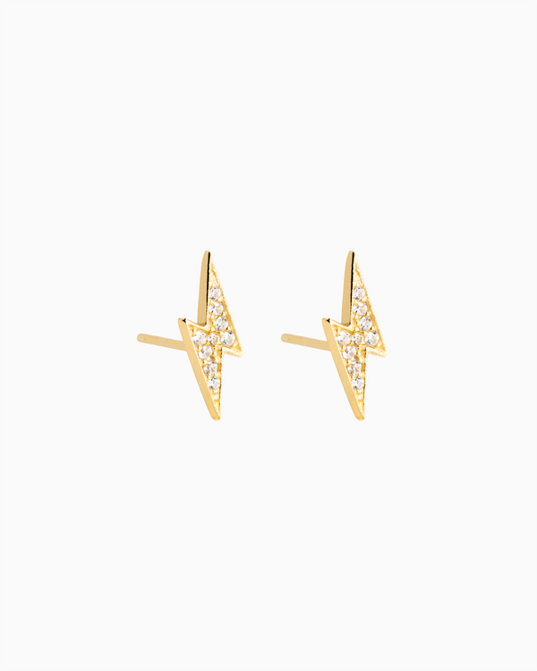 Lightning Bolt Pavé Studs in Gold Plated over Sterling Silver