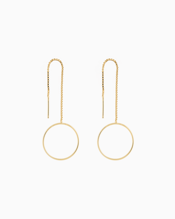 Monocle Drop Earrings Gold Plated over Sterling Silver