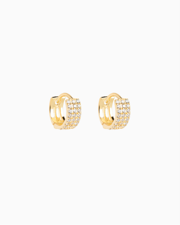 Pavé Triple Row Hoops Gold Plated over Sterling Silver
