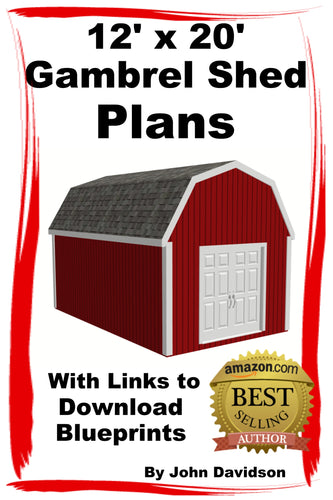 12' x 20' Gambrel Shed Plans Construction Blueprints