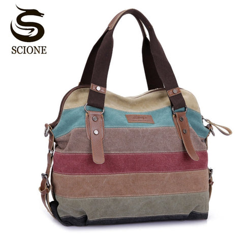 Fashion Patchwork Canvas Casual Handbags Shoulder Bags For Women-pugnent.com