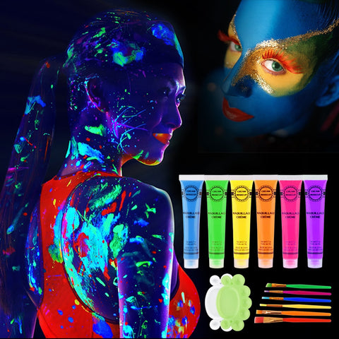 6Pcs 6 colors UV Paint Glow in the dark Face body paint-pugnent.com
