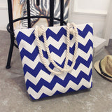 Women Canvas bohemian style striped Shoulder Beach Bag Casual Tote Shopping-pugnent.com