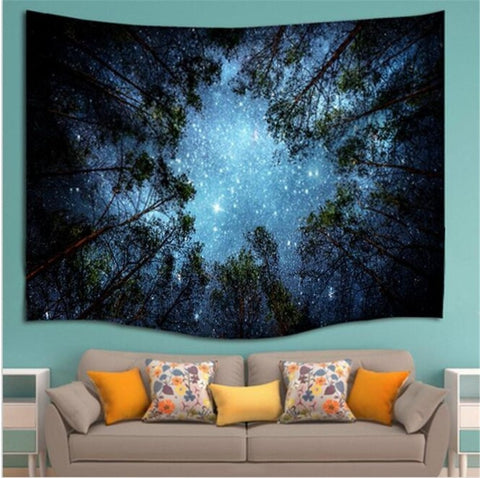 Night Sky Tapestry - Forest Starry Night Tapestry-pugnent.com