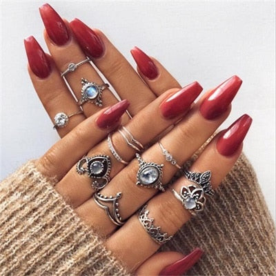 Fashion Rings-Bohemian Antique Rhinestone Knuckle Rings-pugnent.com