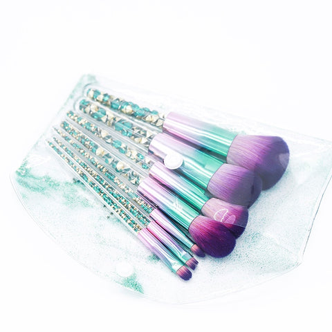 7pcs Green Diamond Unicorn Makeup Brushes Set-pugnent.com