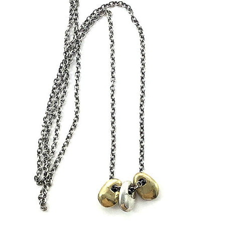 DREA PETITE TRIO NECKLACE IN BRASS AND SILVER