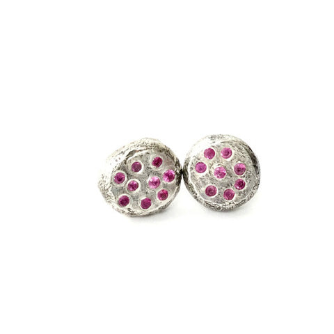 Katherine Earrings - Big Round Studs with Pink Sapphires