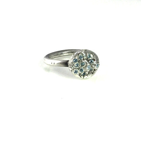 AQUAMARINES STERLING SILVER RING