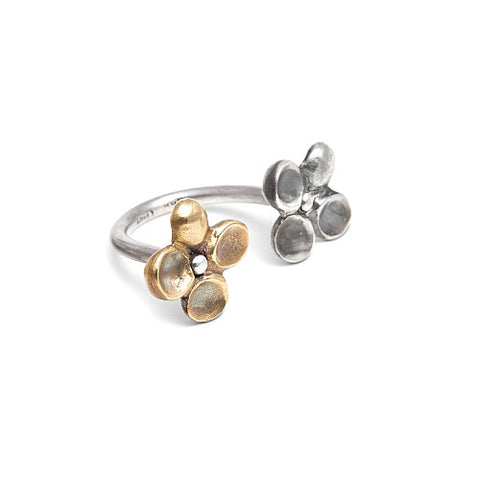 ASTRID RING - BRASS AND STERLING SILVER FLOWERS