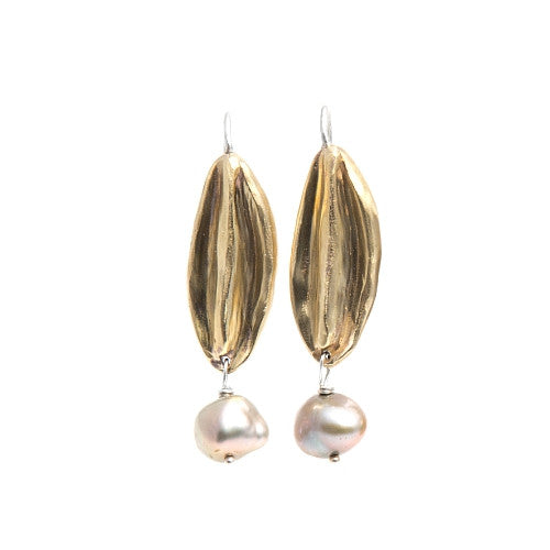 Floret Earrings in Brass with Pearls - SALE