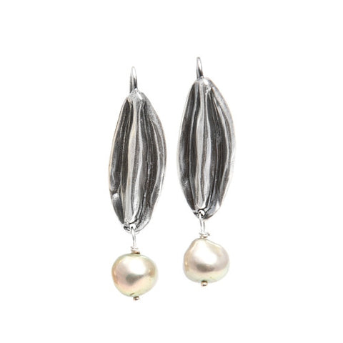 Floret Earrings in Sterling Silver with Pearls