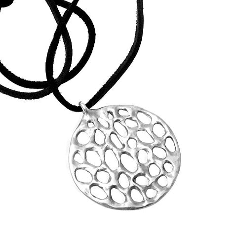 SERENA PENDANT IN STERLING SILVER ON LEATHER CORD