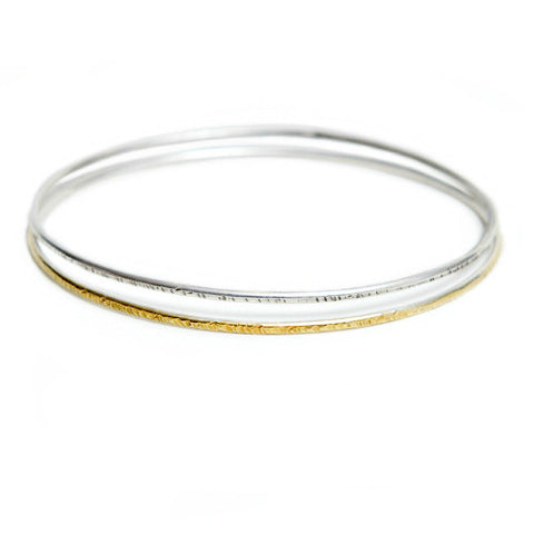 Silver & Gold Textured Bangles