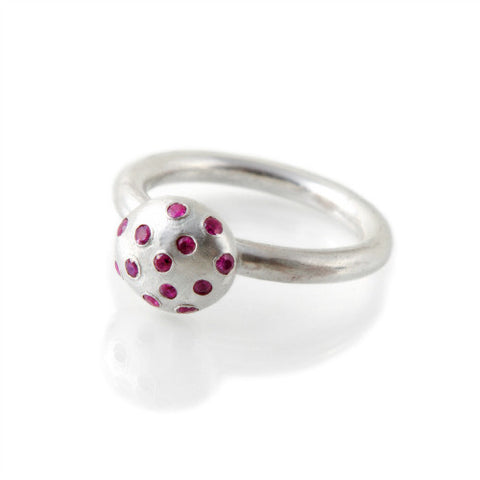 Silver Pebble &  Pink Sapphires Ring