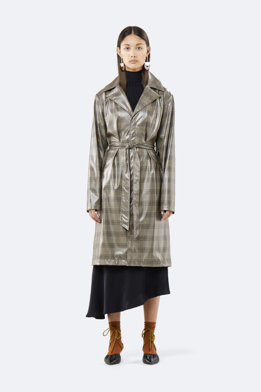 Женский плащ RAINS Check Overcoat, цвет Check Beige
