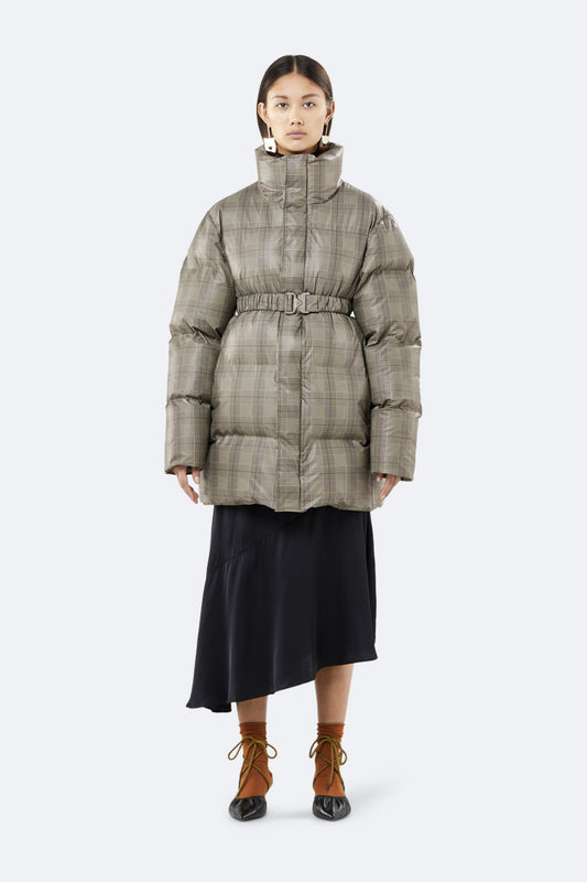 Пуховик RAINS Check Puffer Coat, цвет Check Beige