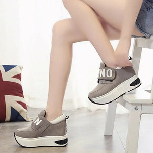 Casual mesh lift sneakers, thick soles for lift with rounded toes