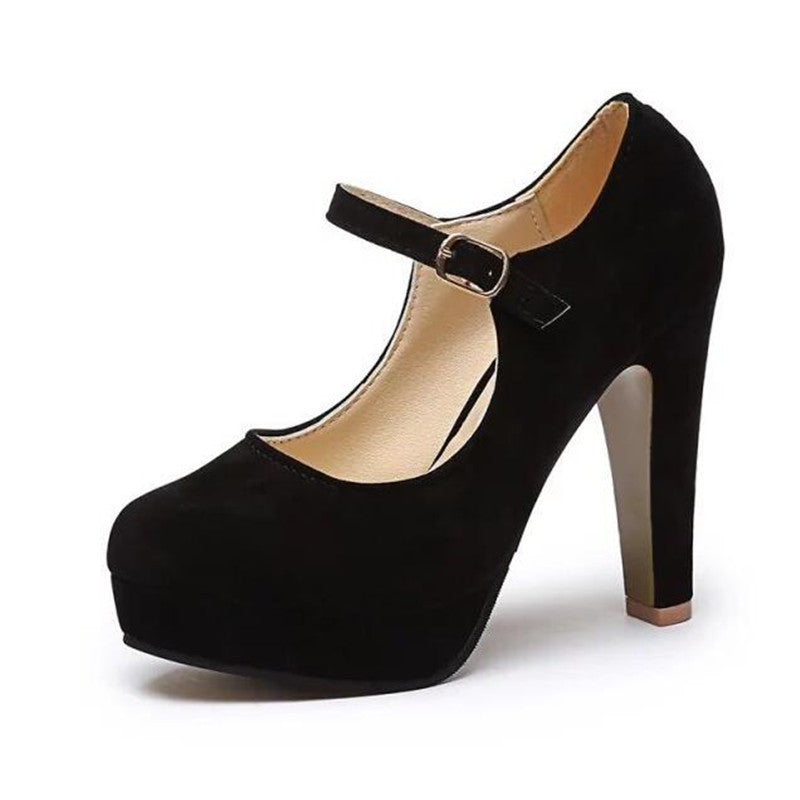 Mary Jane rounded suede block pump heels,