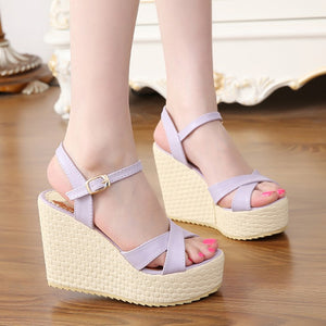 Sandals high heel wedges platform style
