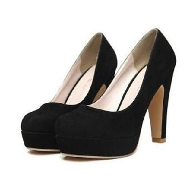 Block style pumps thick heel shoes, buckle style xoxoheels