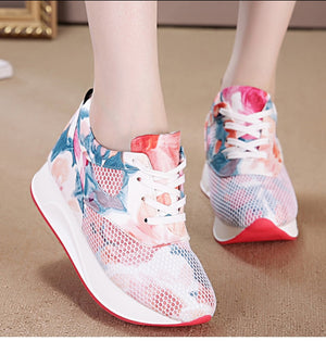 Thick sole casual colorful lace up sneakers, lifting and height increasing comfortable runners.