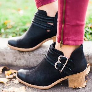 Belt buckle short boots fashion low heels shallow equestrian style