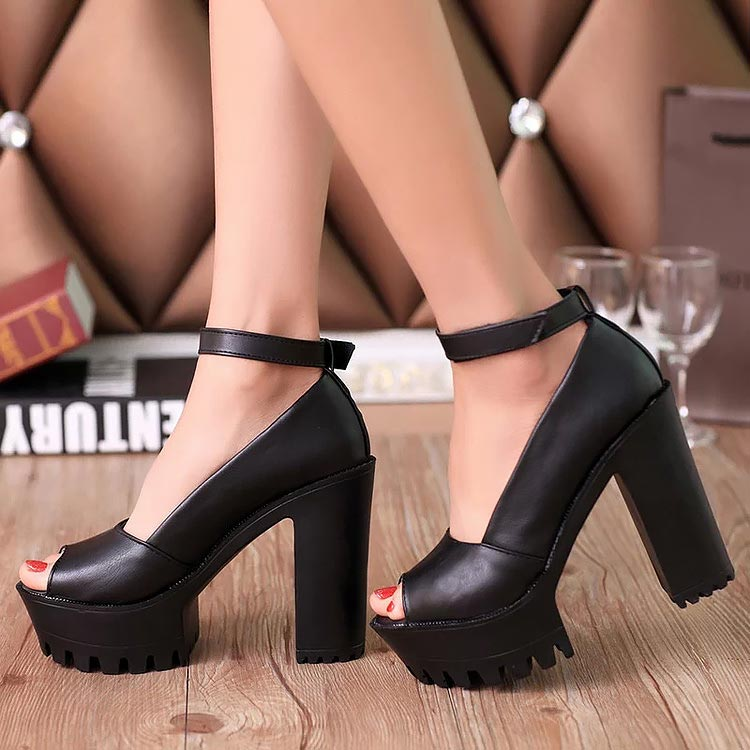 Incredible lift block heels with thick rubber platforms and open concept.