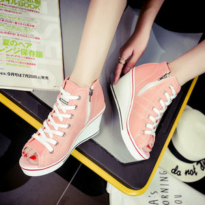 High top sneaker style pump shoes, casual platforms