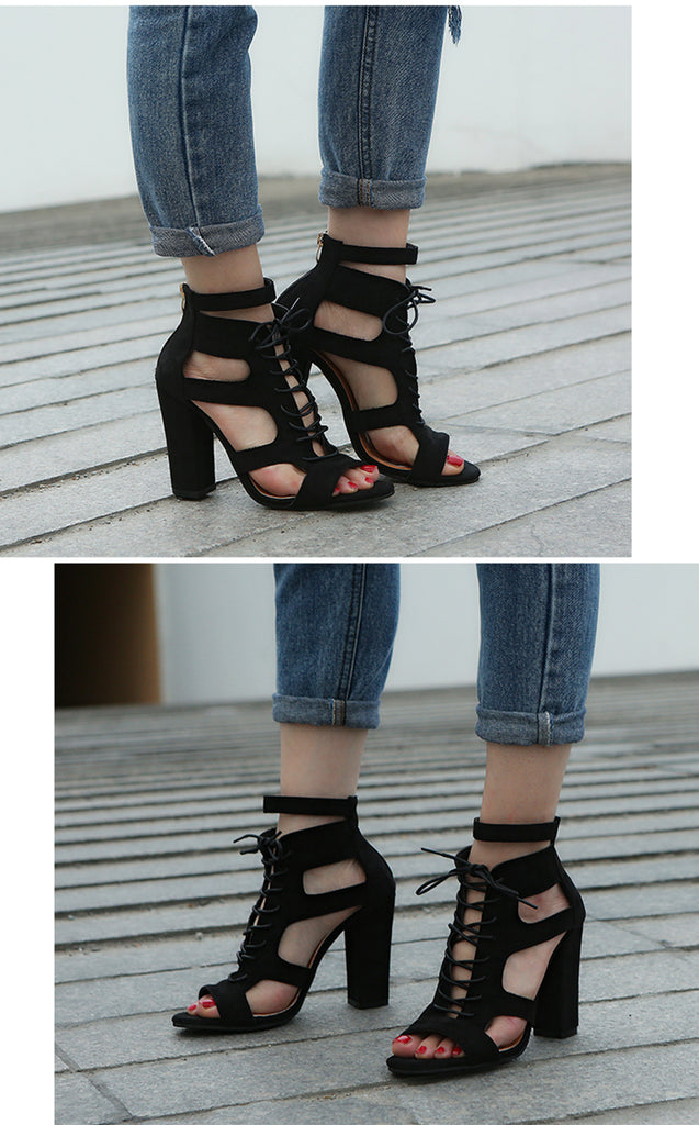 Suede fabric cross strap platform, high ankle lace ups with square block heels.