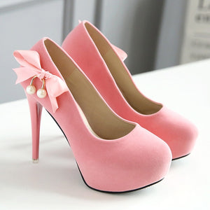 butterfly knot with rounded toes and  pump spike high heels