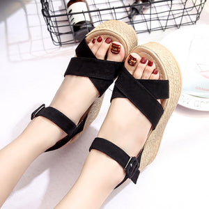 Wedges sandals thick crisscross straps summer style.