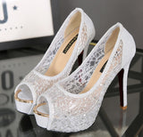 Spider web platform fresh high heel pumps.