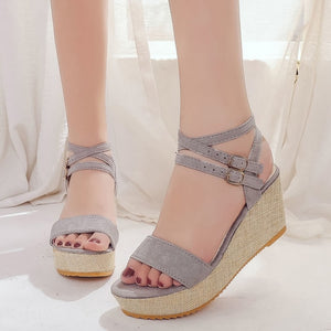 Double buckle strap lift sandals, simple classic wedge style with stretching cross straps
