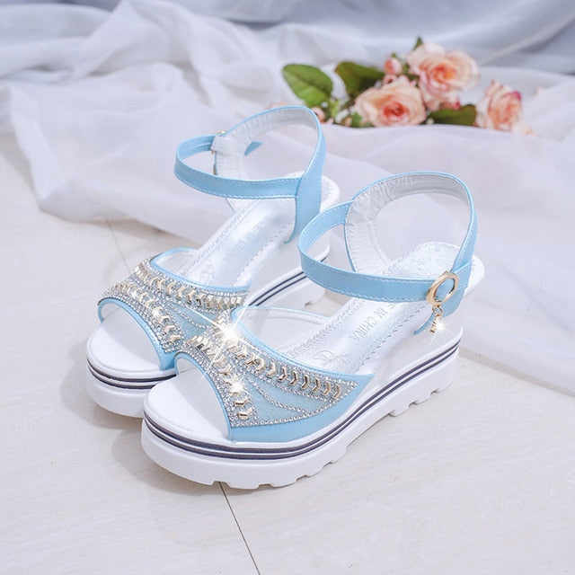High Lift wedge sandals with rhinestones and waterproof