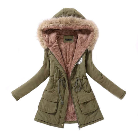 Women Parka Fashion Autumn Winter Warm Jackets Women Fur Collar Coats Long Parkas Hoodies Office Lady Cotton Plus Size -  7accessories.com