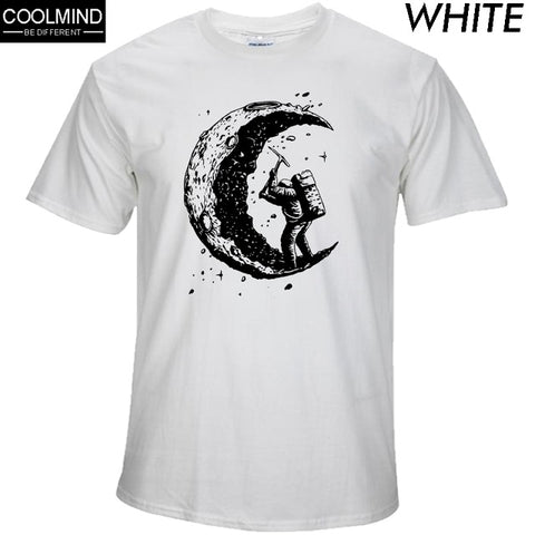 100% cotton digging the moon print casual mens o-neck t shirts fashion men's tops men T-shirt short sleeve men tshirt 2017 -  7accessories.com
