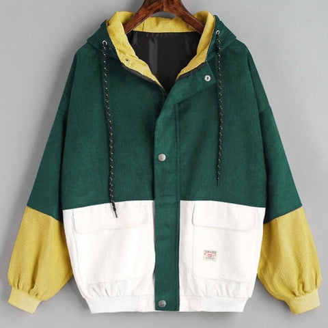 Outerwear & Coats Jackets Long Sleeve Corduroy Patchwork Oversize Zipper Jacket Windbreaker coats and jackets women 2018JUL25 -  7accessories.com