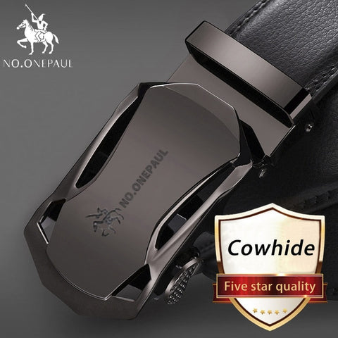 NO.ONEPAUL Brand Fashion Automatic Buckle Black Genuine Leather Belt Men's Belts Cow Leather Belts for Men 3.5cm Width WQE789 -  7accessories.com