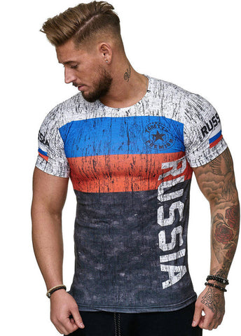 2019 Summer Russian flag men's casual fashion T-shirt round neck cool and lightweight man's T-shirt -  7accessories.com